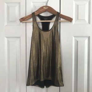 Express high low racerback gold shimmer tank.